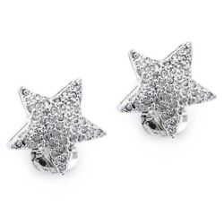 New Dazzling Shiny Star Clip on Earrings made with Clear Swarovski Crystals $15.00