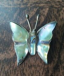 Vintage sterling silver abalone Mexico eagle mark 112 butterfly brooch.