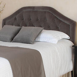 Queen Full Size Bed Upholstered Headboard Grey Fabric Tufted Adjustable Bedroom $269.69