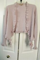 Kier + J2 Nordstrom Women's Cashmere Blush Pink Cable Knit Ruffled Cardigan XS