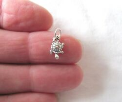 Small Sterling Silver Turtle mini tiny charm. $6.54