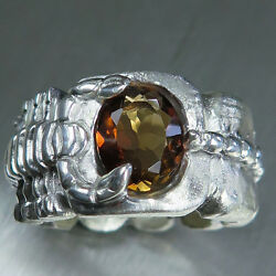 2.60ct Natural Imperial topaz Silver Gold Platinum scorpion unisex ring