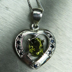 Natural Olive green Tourmaline &sapphire 925 Sterling silver Gold heart pendant