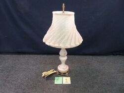 Vintage Tabletop End Table Glass Lamp Hand Paint Pink Candle Stick Desk Shade $115.85