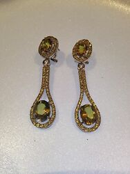 Genuine Lime Quartz 925 Sterling Silver Vintage Chandelier Earrings $132.00