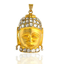 18kt Solid Yellow Gold 9.97ct Rose Cut Diamond Buddha Pendant Religious Jewelry
