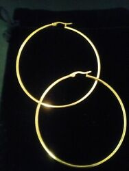14KT GOLD & STS SNAP BACK ROUND HOOP EARRINGS  2 INCH SPECIAL!  50 MM + BONUS!