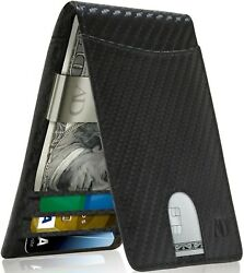 Real Leather Slim Wallets For Men With Money Clip RFID Card Holder Mens Wallet $24.99