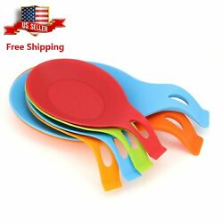 6 Pcs Set Kitchen Silicone Spoon Rest Holder Heat Resistant Kitchen Utensil Tool $10.99