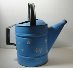 Vtg Large Rustic Old IC Blue Metal Watering Can Flower Yard Art Barn Decor Craft