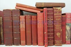 Lot 5 RED Shades of RED Old Vintage Antique Rare Hardcover Random Books $24.95