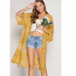 She & Sky Embroidered Lace Kimono Open Front Cardigan Jacket Duster - Mustard
