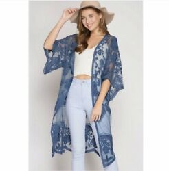 She & Sky Embroidered Lace Kimono Open Front Cardigan Jacket - Blue Retail 46.00