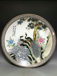 50cm collect Chinese Five-Colored porcelain Handmade Aniaml Peacock plate AUPT