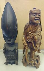 Vintage Oriental amp; Aborigines Carved Statues Figures 13quot; 14quot; Lot of 2 $38.95