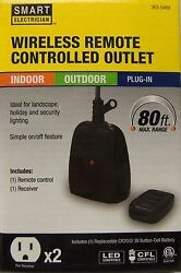 Indoor Outdoor Remote Control 2 Outlet Receiver W Remote NEW SMART ELECTRICIAN $14.95