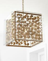 RARE IMPORTANT NYC ESTATE GORGEOUS HANGING GOLD LEAF BUTTERFLY CHANDELIER