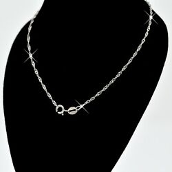 REAL SOLID SILVER Classic 925 Sterling Silver Chain Necklace Jewelry (WaterWave) $7.99