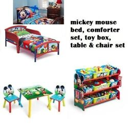 Disney Mickey Mouse Toddler 3D Bed  4pc. Comforter Set Toy Chest Table