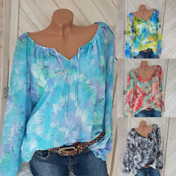 Womens Lace Up Tie Dye Long Sleeve Tops Casual Loose Blouse Summer Tee Shirts