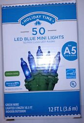 Holiday Time 50 ct Blue LED Mini Lights Green Wire Christmas $10.25