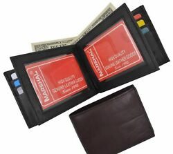 Genuine Leather Mens Bifold 2 ID's multi Card Double Flap Popular Wallet Black