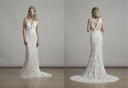Liancarlo 6870 Lace Sheath Wedding Dress Size 10
