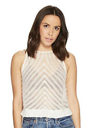 Free People Womens She's A Doll Tank Top Ivory SM (Women's 4-6) Retail $58.00