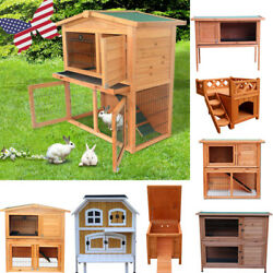 Portable Wooden Small Animal House Coops Run Wood Kennel Outdoor Cat Rabbit Room