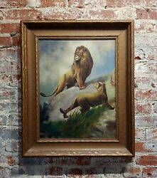 Pair of Lions 19th century Victorian Oil painting on canvas $1800.00