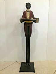 Antique Folk Art Black Americana Old Butler Cast Iron Smoking Stand