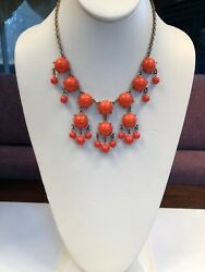 """Statement Necklace Bright Orange Lucite Beaded Gold Clasp And Chain 16"""""""
