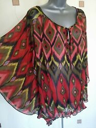 TUNIC TOP BLOUSE COVER 30 56 6XL PLUS SUMMER HOLIDAYS BEACH SUN LOOSE PRINT GBP 11.65
