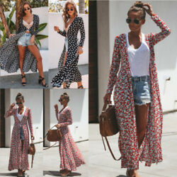 US Women's Floral Boho Holiday Long Maxi Dress Duster Cardigans Loose Tops