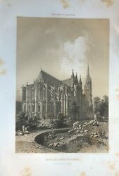 Lithography Eglise OF THE ABBEY MENS of Saint Denis Folio 1861 $38.81