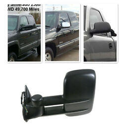 For 99-02 Silverado Sierra Black Towing Power Side Mirrors pair set
