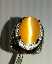 65 Ct Beautiful Orange Color Oval Cats Eye Gemstone Men's Ring SIZE 10  D7925 $79.99