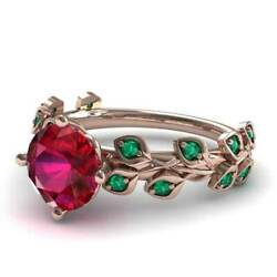Gorgeous Rose Gold Filled Round Cut Ruby Women Cocktail Rings Size 6-10