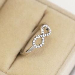Infinity Women 925 Silver Wedding Rings Jewelry White Sapphire Ring Size 6-10