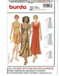 Burda 2933 Misses Empire Waist Short or Long Dress Sewing Pattern Size 8-18