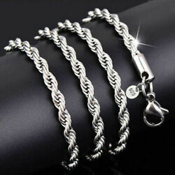 925 Sterling Solid Silver Twist Rope Chain Necklace For Women jewelry 2mm 16-30