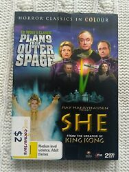 PLAN 9 FROM OUTER SPACE  SHE – DVD 2-DISC BOX SET    R-4 LIKE NEW FREE POST