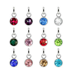 12pcs Stainless Steel 6mm Birthstone 12 Months Hang Pendant Charms For Necklace $2.16