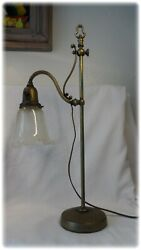 Antique French Brass Adjustable Heigh Direction Bankers Desk Lamp 1880
