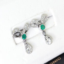 Art Deco Vintage Emerald and Diamond Earrings Antique Earrings in a Bow Shap...