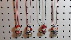 JINGLE BELL SNOWMAN NECKLACES - EAR MUFFS - REDGREEN CORD - RESIN - SET OF 4