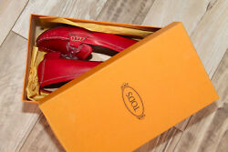 Mocassin Ballet Flat Red Leather tod#x27;s Casper Plexi Size 38 1 2 Boxed $153.44