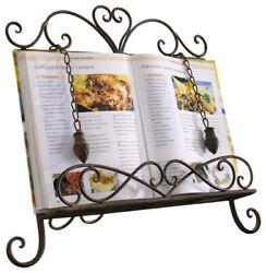 Antique Metal Cookbook Stand Book Holder Easel w Weighted Chains $41.99