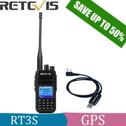 Retevis RT3S GPS Dual Band Walkie Talkie 3000CH DMR Digital TDMA+Cable(UHFVHF) $79.99