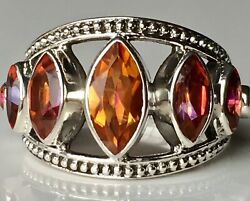 Nicky Butler Sterling Silver Marquise Shaped Gemstone Band Ring Sz 7